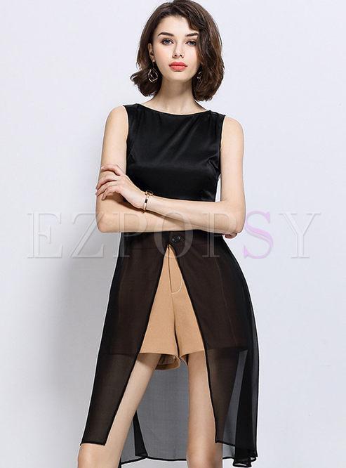 Sexy Asymmetry Silk Stitching Sleeveless Blouse