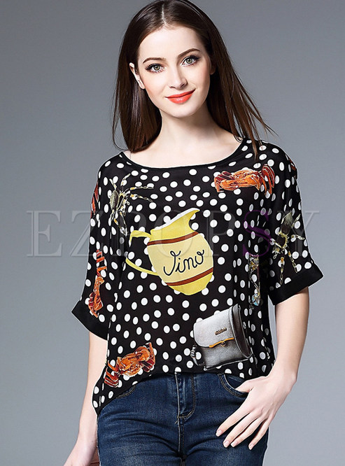 Fashion Dot Print Loose T-Shirt