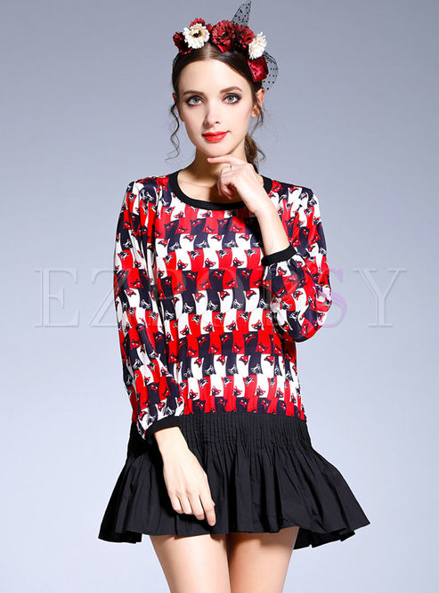 Fashion Stitching Silk Long Sleeve Blouse