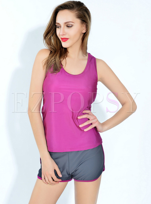 Casual Plain Color-blocked Swimsuit