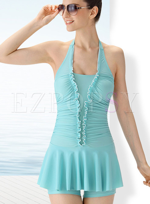 Halter Neck Pure Color One Piece Swimwear