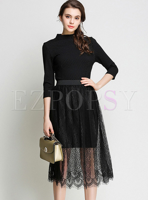 Dot Print Stand Collar Bodycon Dress & Lace See Through Skirt