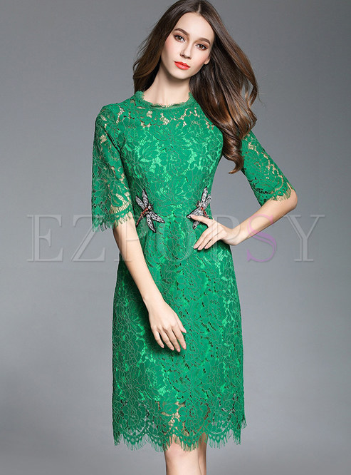 Lace Embroidered Half Sleeve Bodycon Dress