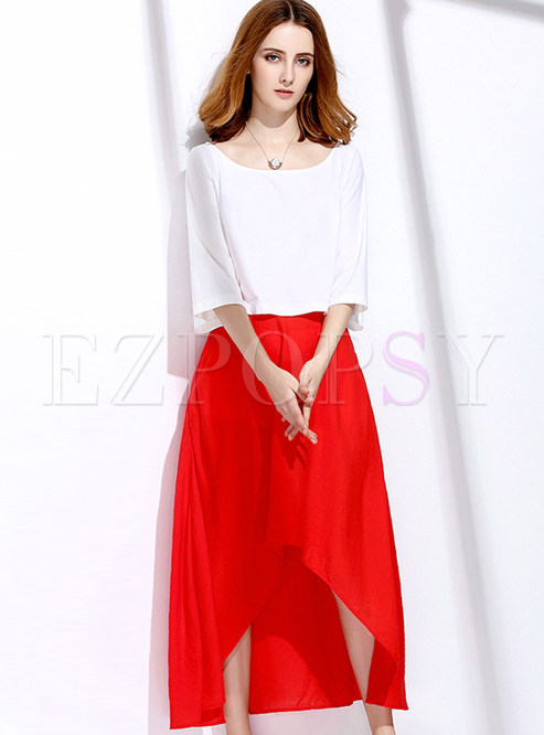 O-neck Half Sleeve White Blouse & Asymmetry Elegant Red Skirt