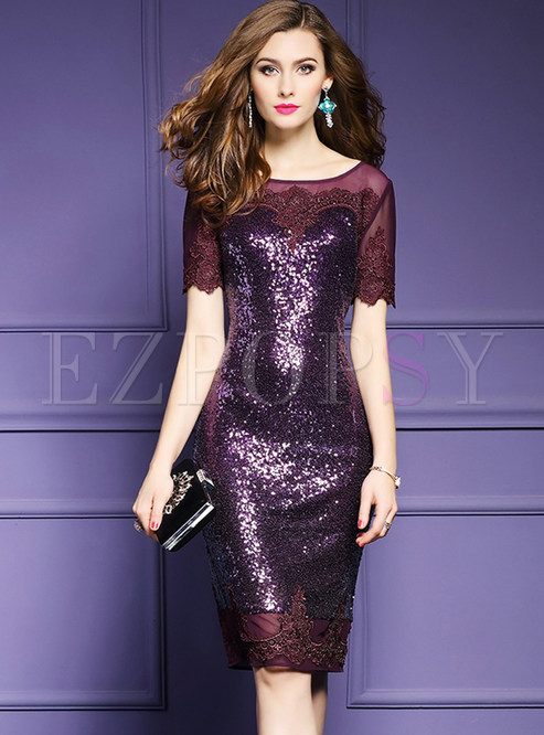 Stylish Sequins Stitching Embroidered Short Sleeve Bodycon Dress ...