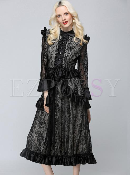 Sexy Perspective Falbala Waist Maxi Dress