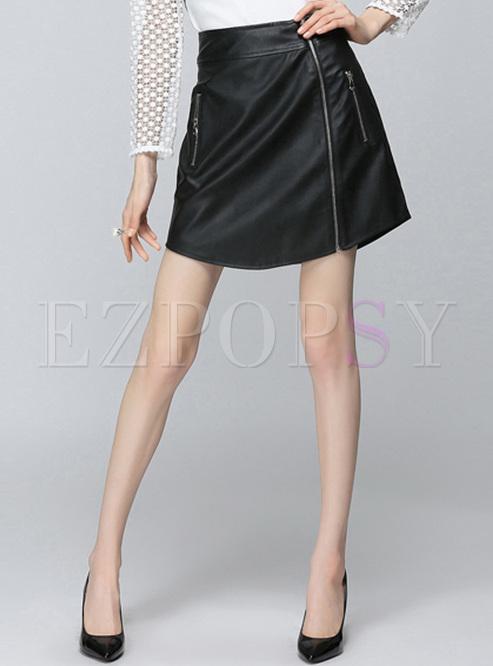 Black Zipper High Waist PU Skirt