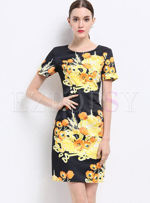 Vintage Slim Floral Print Short Sleeve Bodycon Dress