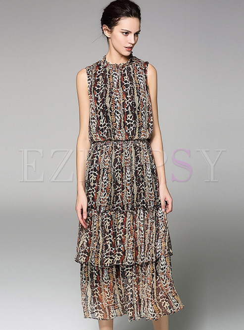 Leopard Print Stand Collar Sleeveless Layered Dress