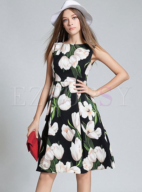 Lily Design Print Sleeveless Skater Dress