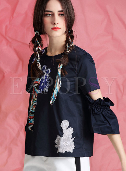 Fashionable Embroidered Print O-neck Splicing Sleeve T-shirt