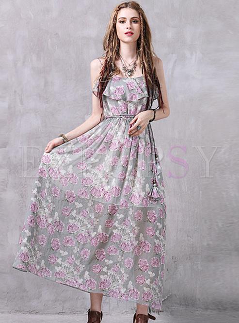 Bohemia Floral Print High Waist Maxi Dress