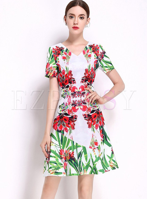 932a80f088 Skater Dresses.   Floral Print Slim V-neck Short Sleeve ...