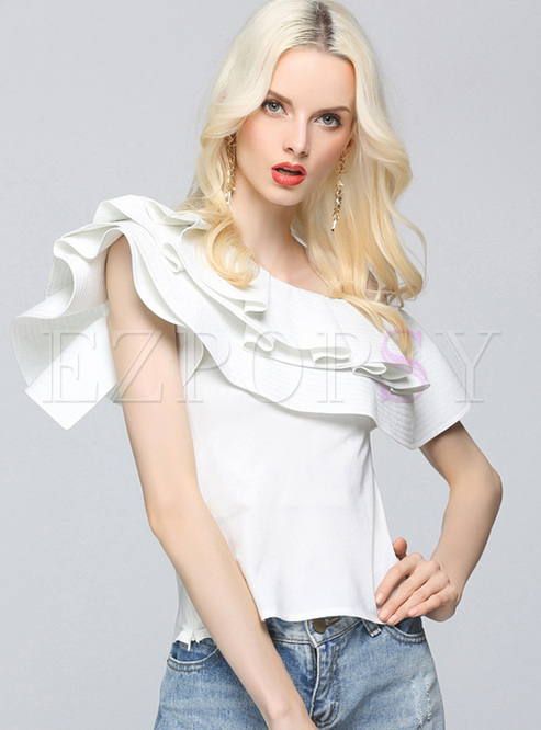 550f425619103 Blouses.   Elegant One Shoulder Falbala Blouse