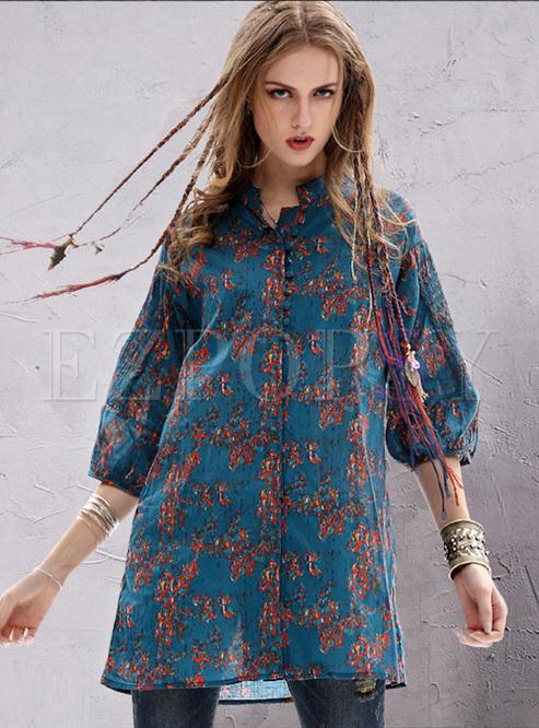 Ethnic Floral Print Lantern Sleeve Blouse