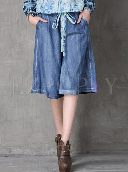 Casual Loose High Waist Denim Wide Leg Pants