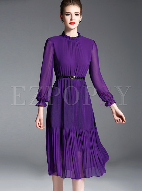 7793bf70b4d8 Skater Dresses.   Elegant Chiffon Stand Collar Long Sleeve Purple ...