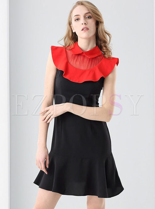 Cute Color Blocking Falbala Turn-down Collar Sleeveless Skater Dress