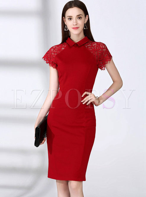 Sexy Lace Splicing Pure Color Turn-down Collar Bodycon Dress