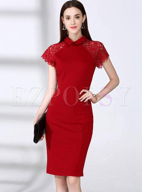 Sexy Lace Splicing Pure Color Turn-down Collar Bodycon Dress