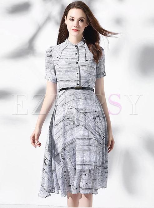 Work Print Turn-down Collar Short Sleeve Splicing Skater Dress