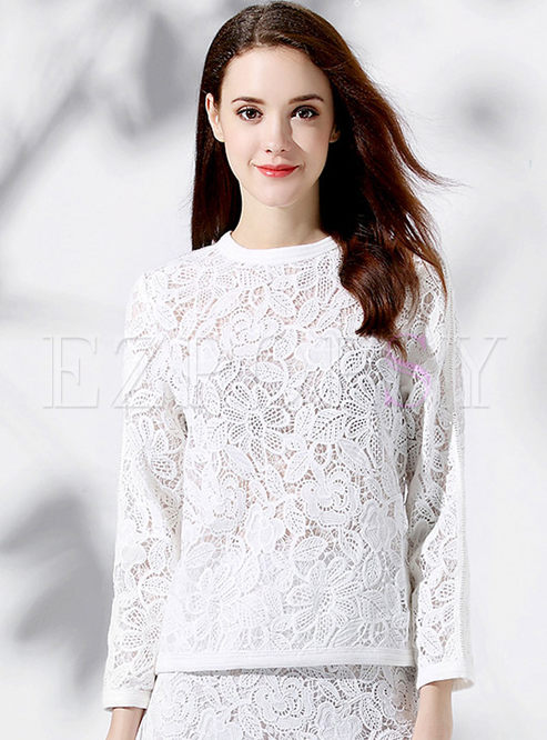 Fashionable Casual Lace Hollow-out Loose T-shirt