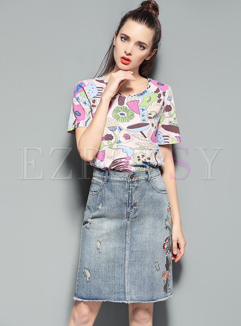 607e914e1f6 Two-piece Outfits.   Floral Print Short Sleeve T-shirt ...