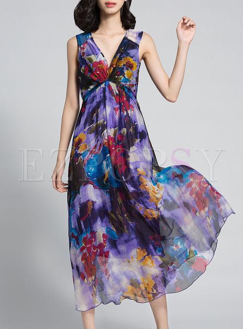 Ethnic V-neck Print High Waist Maxi Dress