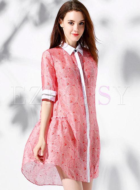 Work Print Turn-down Collar Short Sleeve Splicing Loose Shift Dress