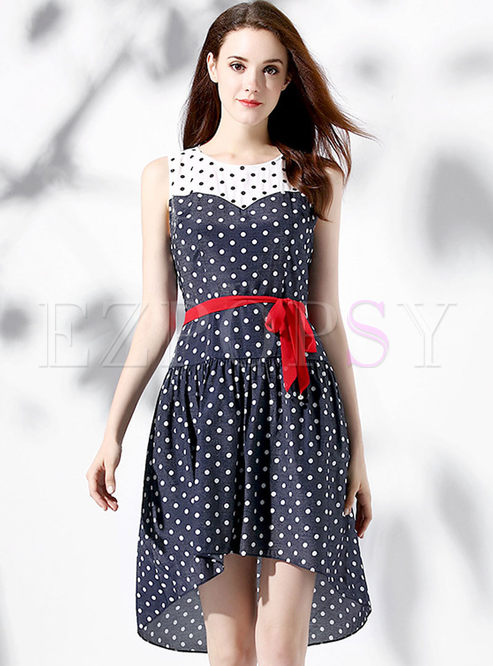 Casual Color Blocking Wave Point O-neck Sleeveless Asymmetrical Skater Dress