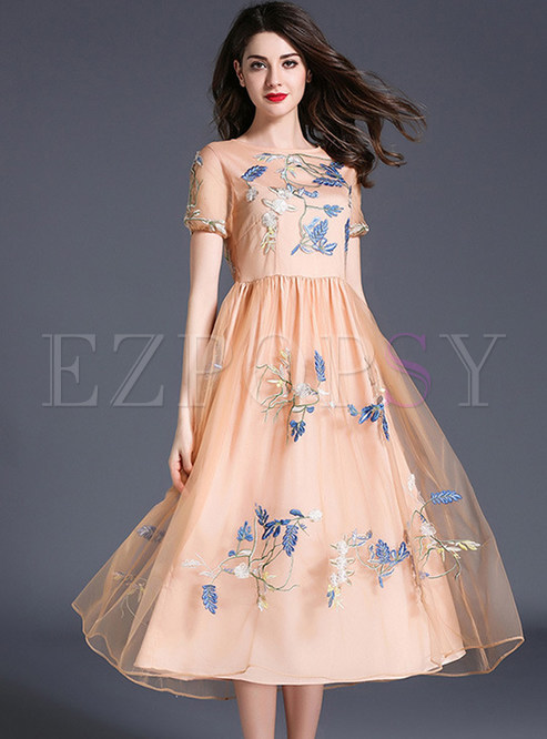 4aefd4952a Skater Dresses.   Elegant Mesh Embroidered Short Sleeve ...