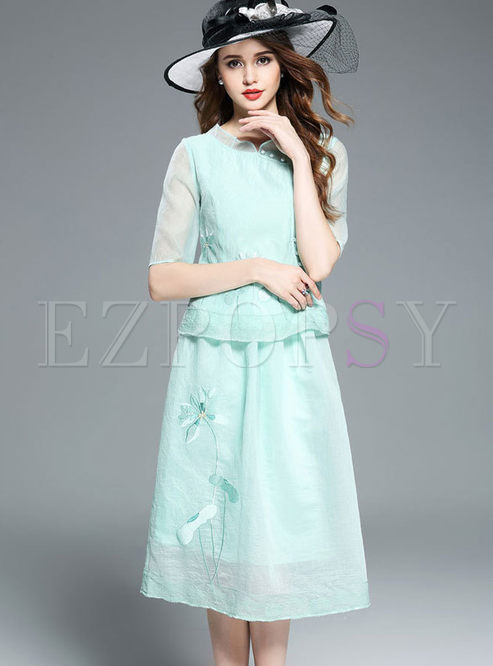 Vintage Embroidered Gauze Lace Half Sleeve Sheath Two-piece Outfits | Ezpopsy.com