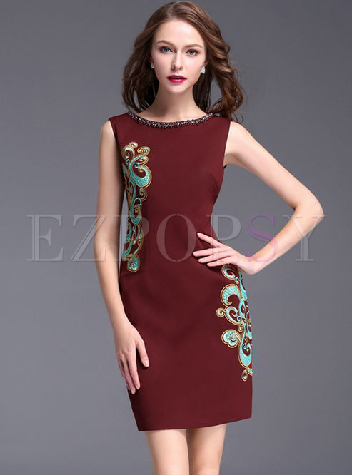 Party Bead Embroidered O-neck Sleeveless Sheath Bodycon Dress