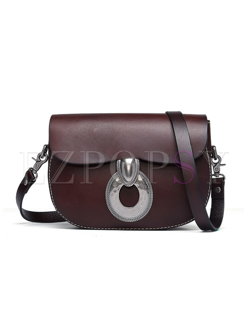 Chic Cowhide Leather Clasp Lock Crossbody Bag