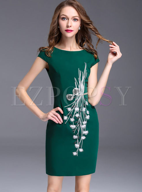 Vintage Embroidered O-neck Sleeveless Splicing Sheath Bodycon Dress