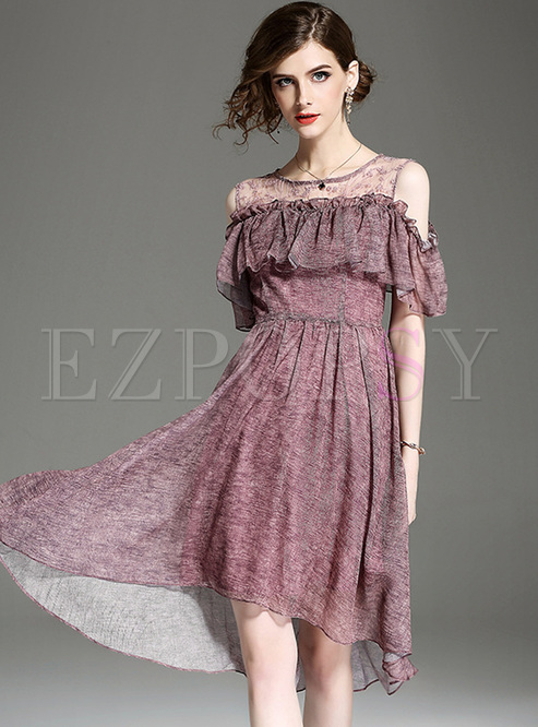 Elegant Off Shoulder Falbala Skater Dress
