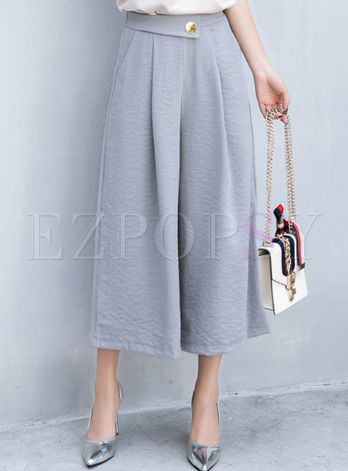 9b7410a2e55d Pants work pure color high waist loose wide leg pants jpg 493x666 High  waisted loose leg