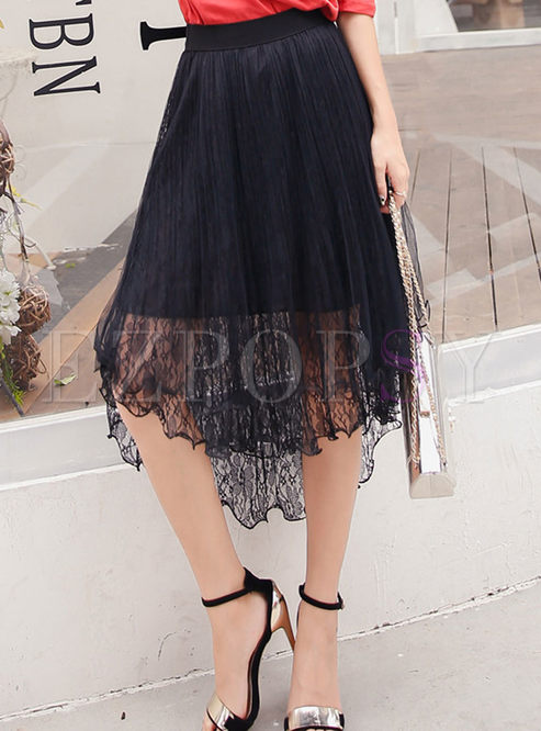 Casual Double Lace Gauze Splicing Asymmetrical Skirt