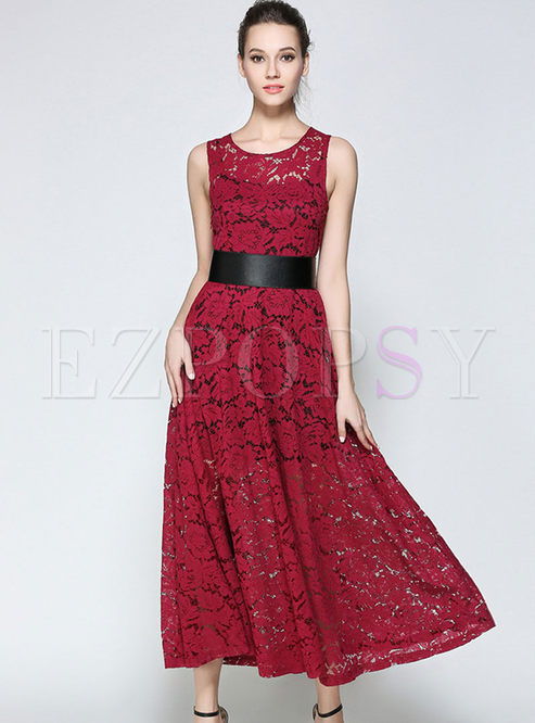 Party Lace Hollow-out Sheath Slim Maxi Dress With Underskirt
