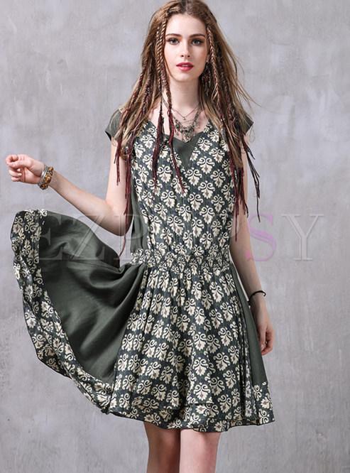 Ethnic Stitching Gathered Waist Skater Dress