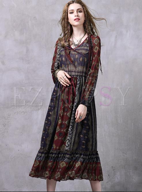 Ethnic Chiffon Floral Print Falbala Maxi Dress