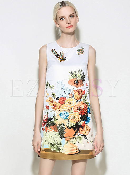 079f8b3882ccac Shift Dresses.   Street Loose Print Sleeveless Mini Dress