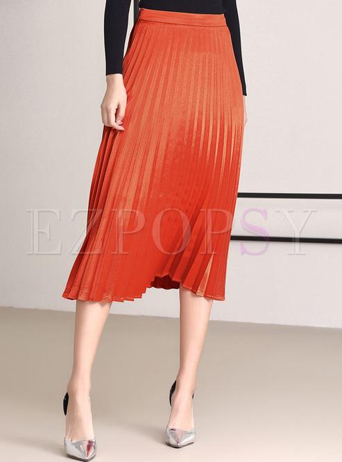 476df45bdb9 Skirts.   Orange Elegant High Waist Pleat Skirt