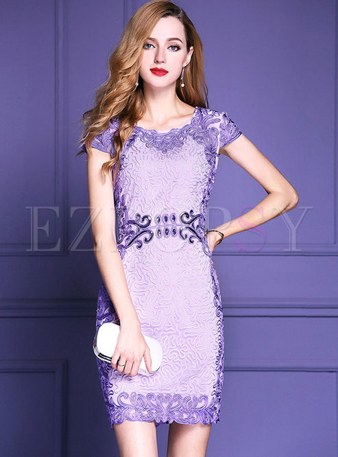Vintage O-neck Embroidered Short Sleeve Bodycon Dress