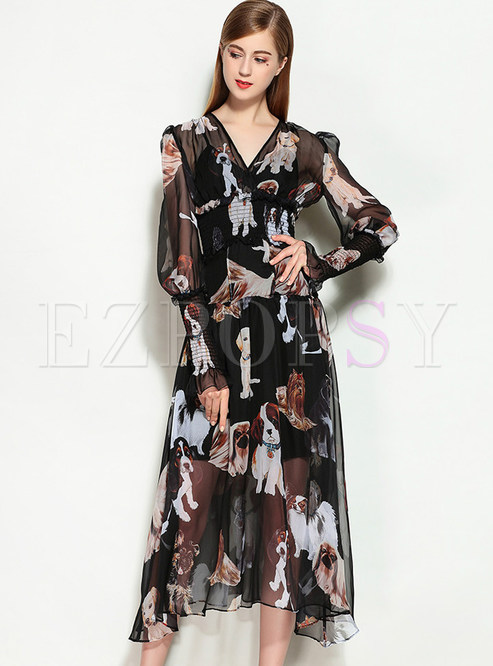 297c785de99e Skater Dresses.   Chiffon Dog Design Print Long Sleeve ...