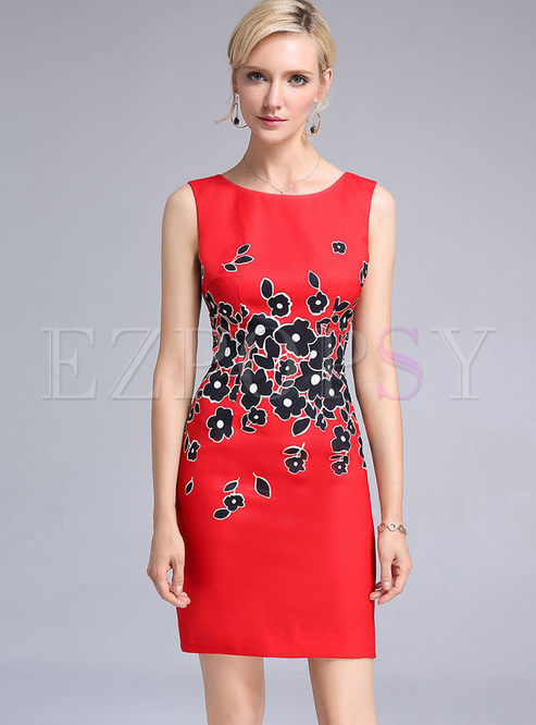 Sexy Print Embroidered O-neck Sleeveless Sheath Bodycon Dress