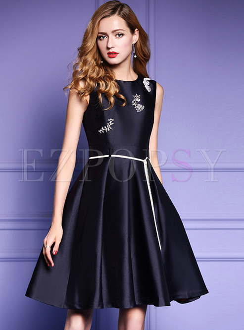 92baebaeae24 Skater Dresses.   Party Sleeveless Beaded Big Hem Skater Dress