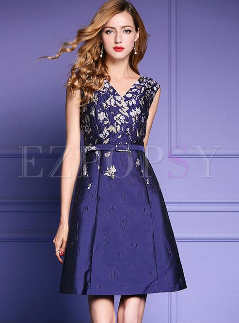 Skater Dresses.   Street Jacquard V-neck ... 3390c9940