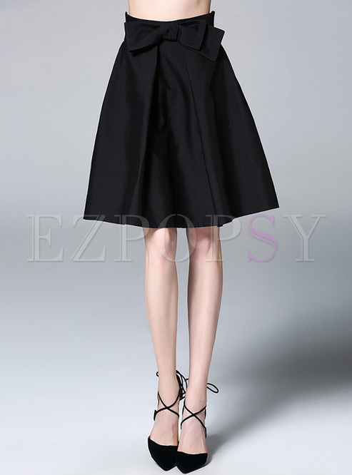 black high waist a line skirt ezpopsy