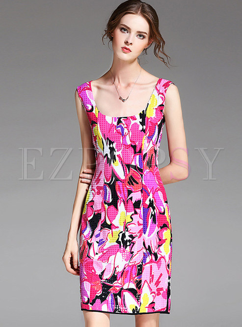 Sexy Colorful Print Slim Bodycon Dress